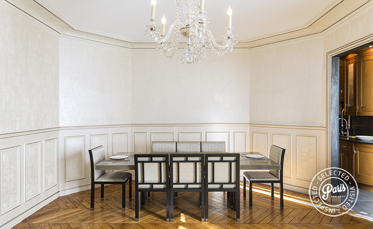 Dining area at Quai Royal, apartment for rent in Paris, Marais