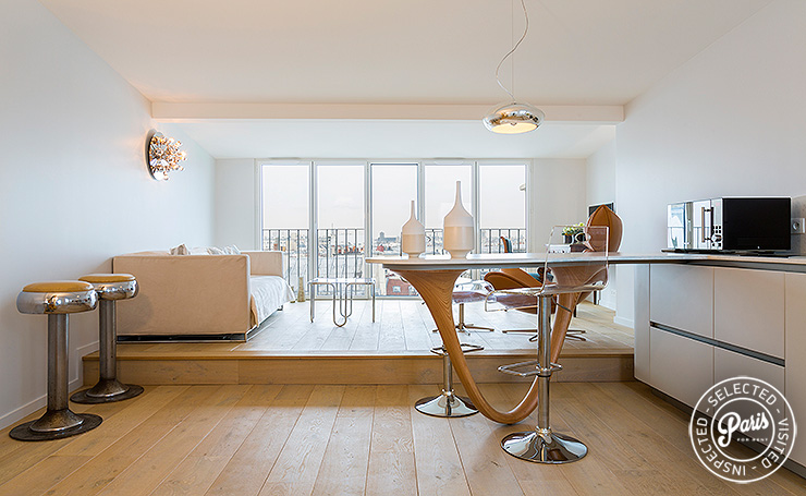 Open floor plan at Marais Skyline, apartment for rent in Paris, Marais