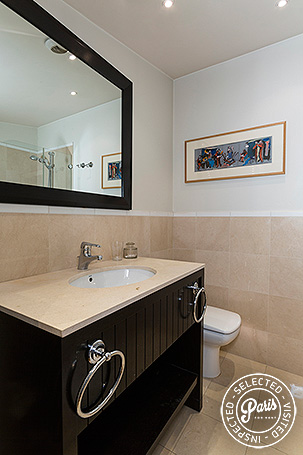 bathroom with toilet at Madeleine Terrace, apartment for rent in Paris, Opera-Vendome