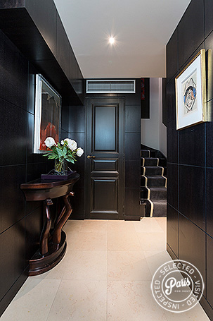 Entrance and stairs to bedrooms at Madeleine Terrace, Paris apartment rental, Opera-Vendome