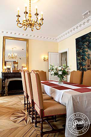 Dining table in salon at Pantheon, Paris apartment rental, Latin Quarter