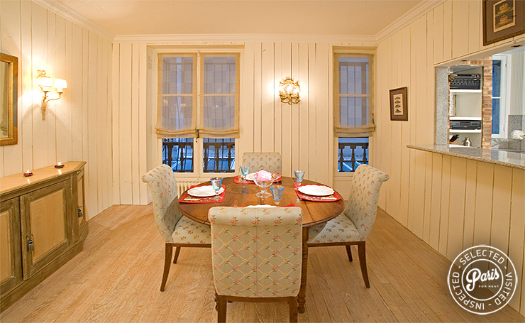 Dining area at Rive Gauche, apartment for rent in Paris, Saint Germain