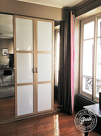 Large window at Rue Cler, Paris holiday Rental, Eiffel tower