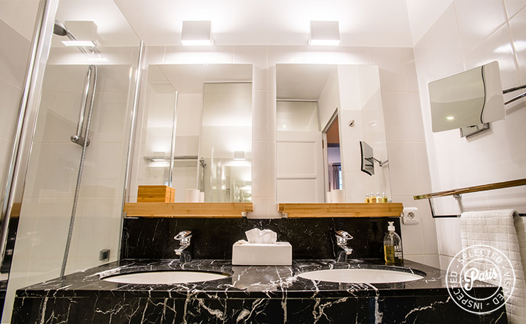 Double washbasin in bathroom at St Germain Charm, Paris apartment rental, Saint Germain
