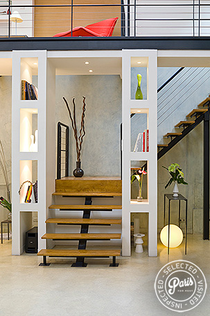 Wooden stairs at Movie Loft, apartment for rent in Paris, Opera-Vendome