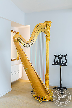 Decorative Harp at Marais Skyline, apartment for rent in Paris, Marais