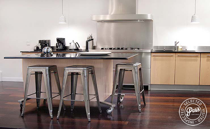 Contemporary aluminum stools at Movie Loft, Parais vacation rental, Opera-Vendome