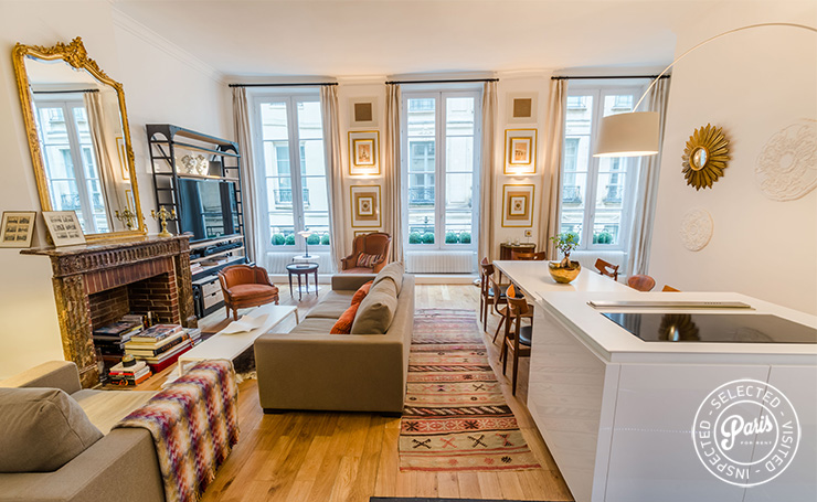 High windows in living area at St Germain Charm, Paris apartment rental, Saint Germain