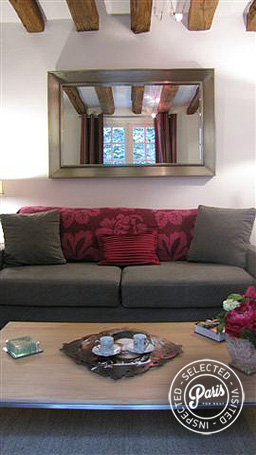 Sofa bed in living room at Quai Notre Dame, Paris vacation rental, Latin Quarter