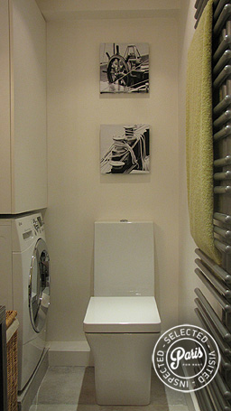 Modern square toilet at Quai Notre Dame, Paris holiday rental, Latin Quarter