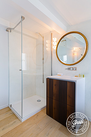 Stand up shower at Marais Skyline, apartment for rent in Paris, Marais