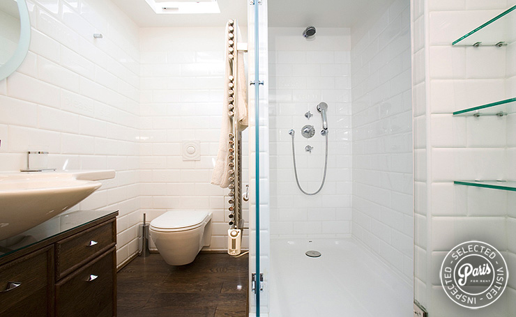 Ensuite bathroom at St Germain Eden, apartment for rent in Paris, Saint Germain