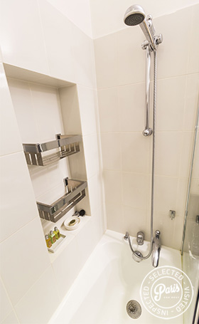 Shower over tub at St Germain Charm, apartment rental in Paris, Saint Germain