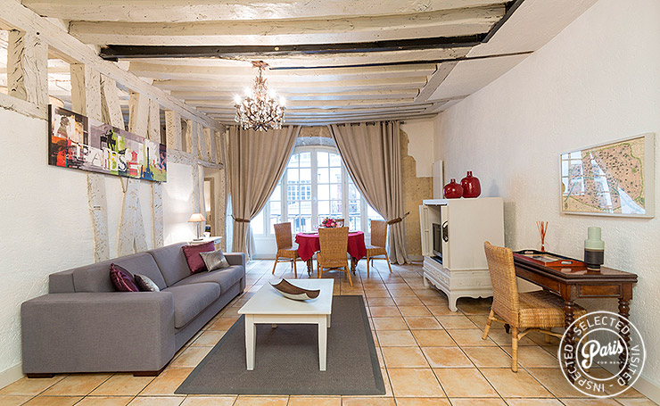 Living room at Bourg, apartment for rent in Paris,  Marais