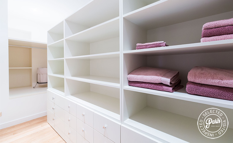 Storage shelves at Latin Quarter Loft, Paris apartment rental, Latin Quarter