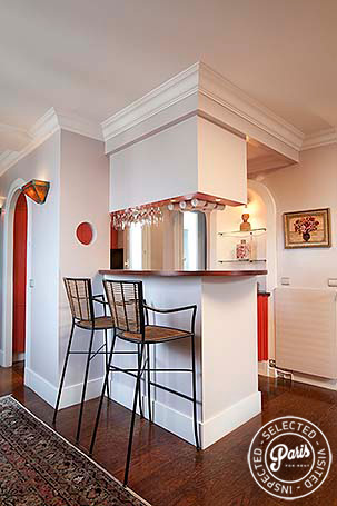 Kitchen with bar seating at Montmartre Amelie, apartment for rent in Paris, Montmartre