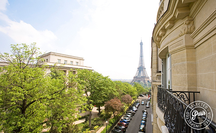 View from balcony at Trocadero Palace, apartment for rent in Paris, Champs Elysées