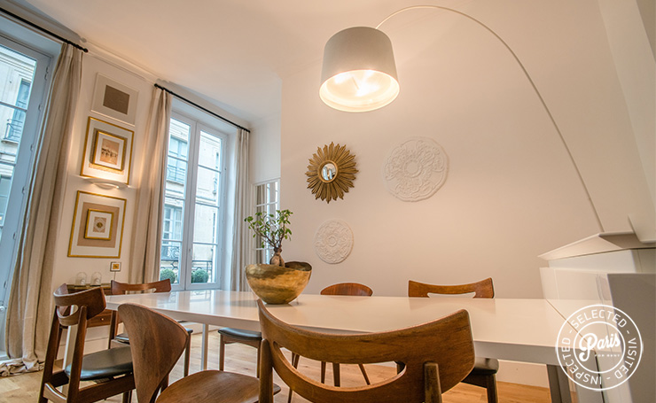 Dining table for eight at St Germain Charm, Paris apartment rental, Saint Germain