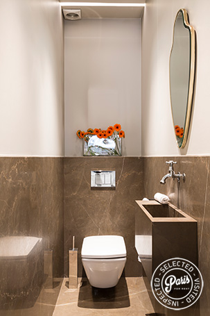 Separate toilet with washbasin at Elysee Garden, apartment rental in Paris, Champs-Elysées