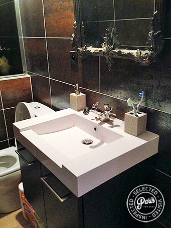 Washbasin in bathroom at Rue Cler, vacation rental in Paris, Eiffel Tower