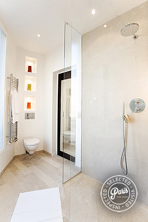 Stand-up shower in bathroom at Four, vacation rental in Paris, Saint Germain