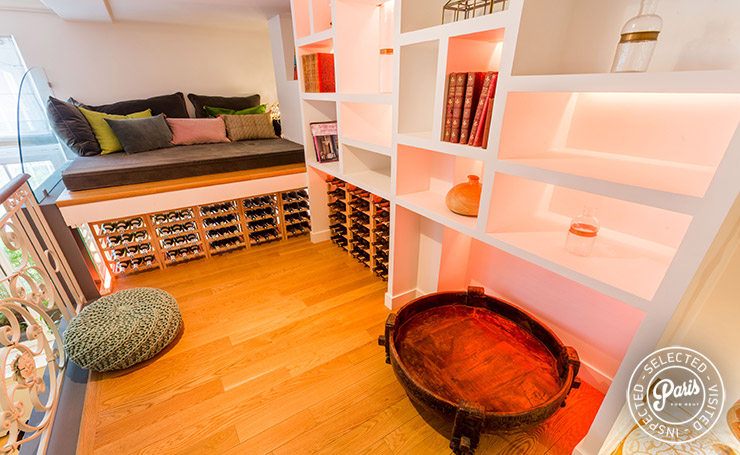 Lounge area on mezzanine at Latin Quarter Loft, Paris vacation rental, Latin Quarter
