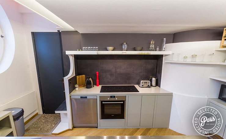 Fully equipped kitchen at Latin Quarter Loft, vacation rental in Paris, Latin Quarter