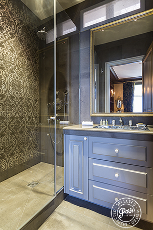 Bathroom with stand-up shower at Quai Royal, apartment for rent in Paris, Marais