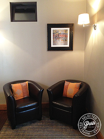 Leather arm chairs at Rue Cler, studio for rent in Paris, Eiffel Tower