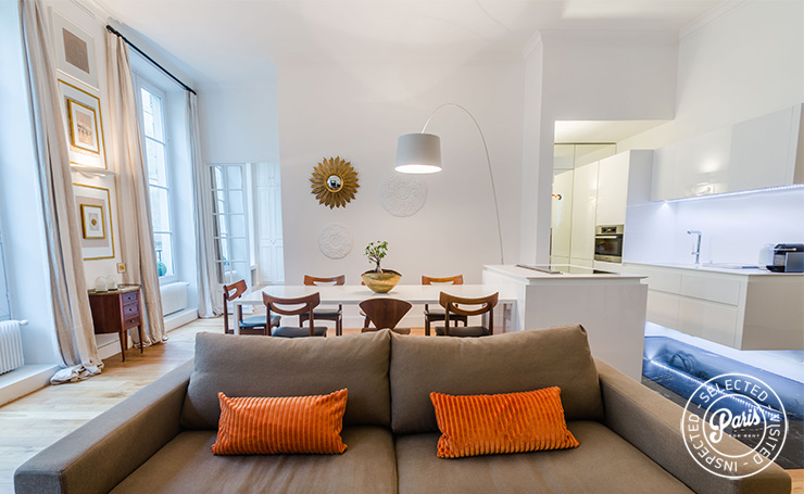 Large sofa at St Germain Charm, apartment for rent in Paris, Saint Germain