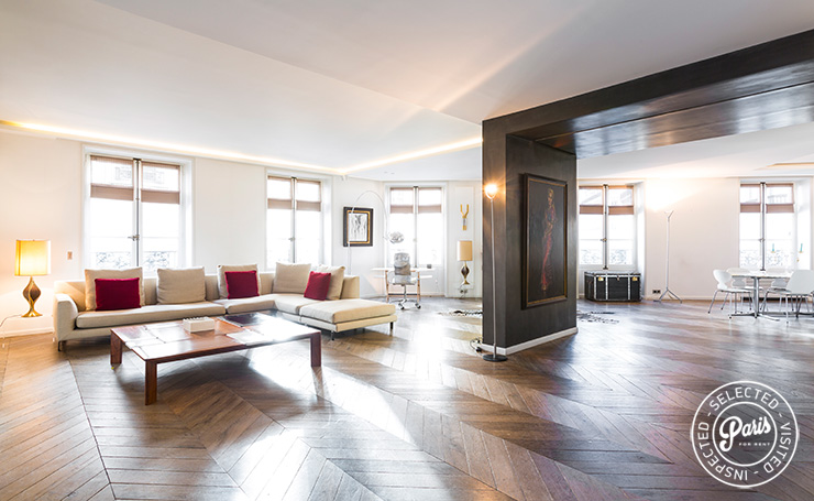 Open floor plan at Elysee Garden, apartment rental in Paris, Champs-Elysées