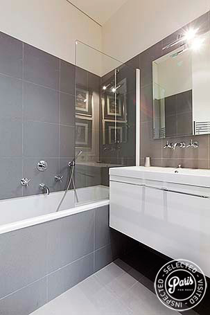 Bathroom with bathtub at Notre Dame Royal, apartment for rent in Paris, latin Quarter
